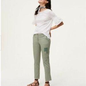 LOFT Marisa Patchwork Chino Pant Green 10 2205X